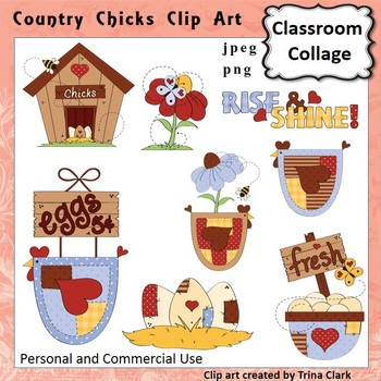 Country Chicks Chicken Clip Art - Color - personal & comme
