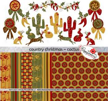Country Christmas Cactus Clipart and Digital Paper Set by Poppydreamz
