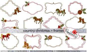 Country Christmas Frames Clipart Set by Poppydreamz