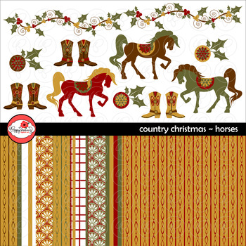 Country Christmas Horses Clipart and Digital Paper Set by