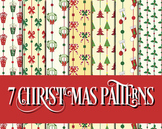 "Country Christmas Patterns 12 x 12"" Digital Papers and Holiday Clip Art"