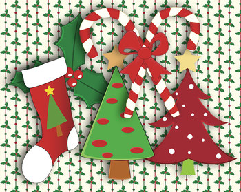 """Country Christmas Patterns 12 x 12"""" Digital Papers and Holiday Clip Art"""