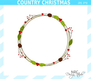 Country Christmas Wreath Clip Art - Commercial Use Clipart