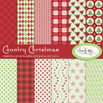 Country Christmas digital papers