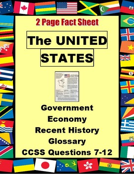 Country Fact Sheet UNITED STATES 2 Pg Reading, Questions, Comparison Chart  FREE