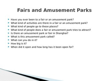 Country Fairs and Amusement Parks English Corner