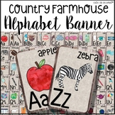 Country Farmhouse Alphabet Banner on Burlap and Wood Background