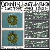 Country Farmhouse Classroom Voice Levels Posters-Editable