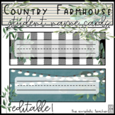 Country Farmhouse Student Name Cards-Editable