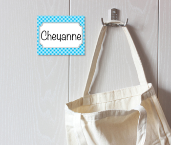 Country Gingham Tags for Organizing Cubbies, Name Tags, Word Wall and Coat Hooks