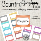 Country Gingham Tags for Organizing Cubbies, Name Tags, Wo