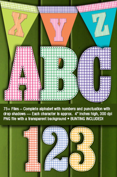 Country Gingham and Stitches Alphabet - 300 DPI -Transparent Background