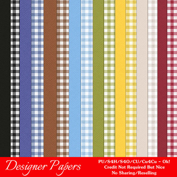 Country Ginghams A4 size Digital Papers