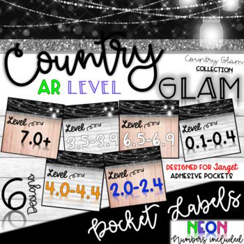 Country Glam AR (Accelerated Reader) Book Bin Labels Target Pocket Adhesive