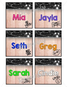 Country Glam Name Tags and Chair Pockets Target Adhesive Labels *EDITABLE
