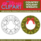 Country Holiday Wreath Clipart Single