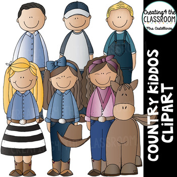Country Kiddos Clipart {Kids Clipart}