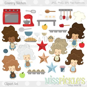 Country Kitchen- Commercial Use Clipart Set