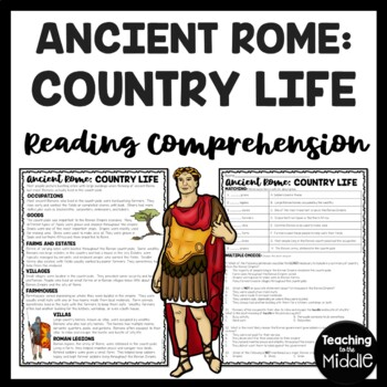 Country Life in Ancient Rome Reading Comprehension Worksheet