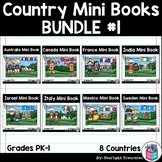 Country Mini Book Bundle #1 for Early Readers - 8 Country Mini Books
