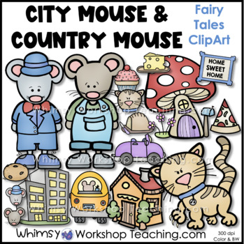 Country Mouse City Mouse Clip Art - Whimsy Workshop Teaching