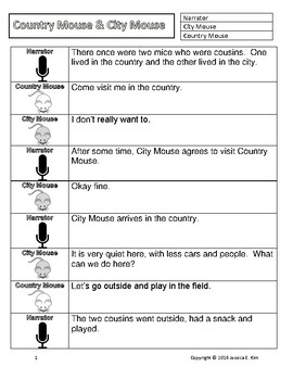 Country Mouse & City Mouse Fable Story Play Readers' Theater Script