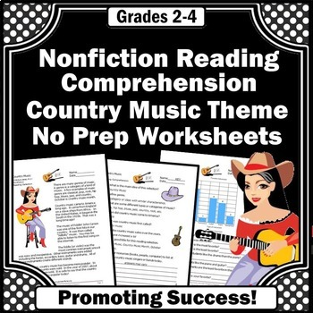 Nonfiction Reading Passages Comprehension Questions, Country Music Theme