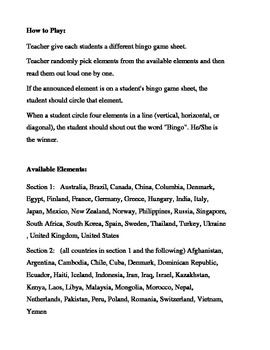 Country Names Bingo Game (H&I Bingo Game Sheets) - 4 X 4