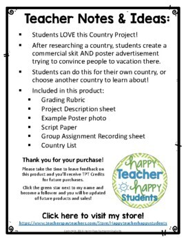 Country Project: Create a Commercial! {Country Research Activity}