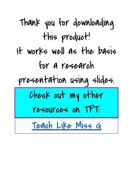 Country Project for Presentation or Research
