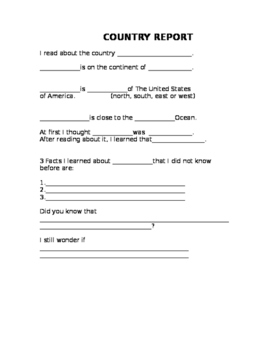Country Research Sentence Frame Report Form FREE
