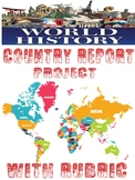 World History Country Report Project with Rubric