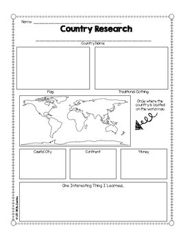 Country Research Graphic Organizer Freebie