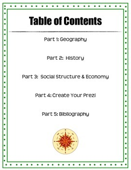 Country Research Outline Packet (use with Prezi)