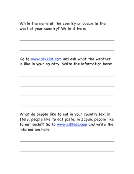 Country Research Project Modified Graphic Organizer