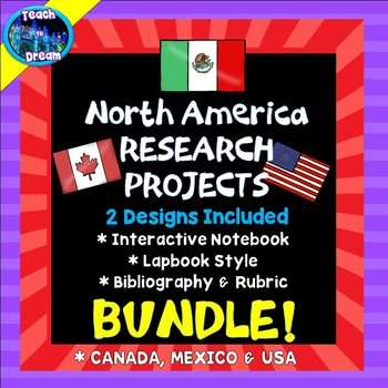 Country Research Project: North America BUNDLE! - Interactive Lapbook Notebook