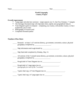 Country Research Project Rubric and Packet