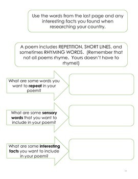 Country Research Writing Project: Narrative, Poem, Informational Paragraph