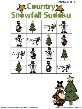 Primary Sudoku Christmas Snow