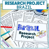 Country Research Project - A Country Study About Brazil with Reading Passages