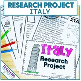 Country Research Project - A Country Study About Italy with Reading Passages
