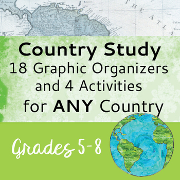 Country Study Resource for ANY Country 18 Graphic Organizers, 4 Activities