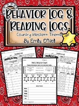 Country Western Behavior Log & Reading Logs