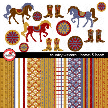 Country Western Horses and Boots Clipart and Digital Paper