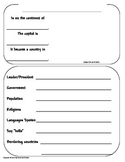 Country Worksheets or Report