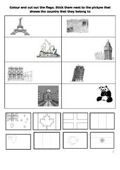 Country flag and landmark colour and matching worksheet