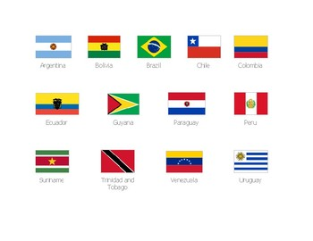 graphic about Printable Country Flags referred to as Region flags of South The united states Printable