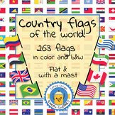 Country flags of the world: 260 Country flags - clip art BUNDLE! (1040 clips!)