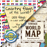 Country flags of the world & World map and continent  - School Clip Art - BUNDLE