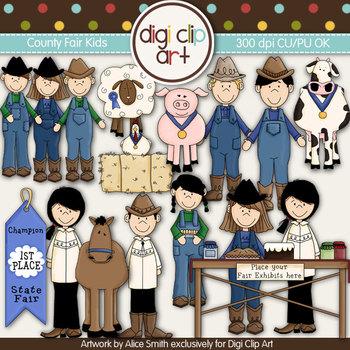 County Fair Kids -  Digi Clip Art/Digi Stamps - CU Clip Art